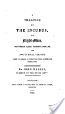 A Treatise on the Incubus or Nightmare Cover, written by John Waller