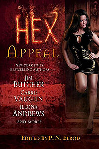 Hex Appeal Book Cover, written by Ilona Andrews, Jim Butcher, Rachel Caine, Carole Nelson Douglas, P. N. Elrod, Simon R. Green, Lori Handeland, Erica Hayes and Carrier Vaughn. Edited by P. N. Elrod