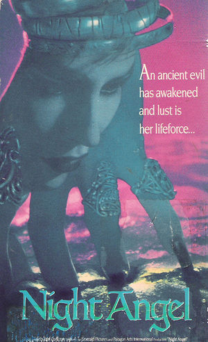 VHS box cover for the 1990 American horror film Night Angel