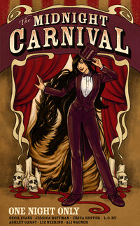 The Midnight Carnival: One Night Only Book Cover, written by Cecil Evans, Jessica Hoffman, Ashley Garst, Erica Hopper, Liz Neering, Ali Wagner and L.C. Hu
