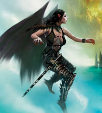 The Succubus Aliisza as depicted on the cover of the novel The Gossamer Plain written by Thomas M. Reid