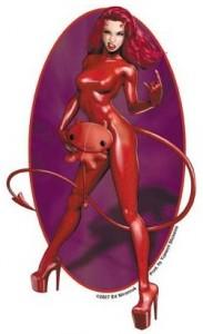 Cuddly Devil Girl Sticker by Ed Mironiuk