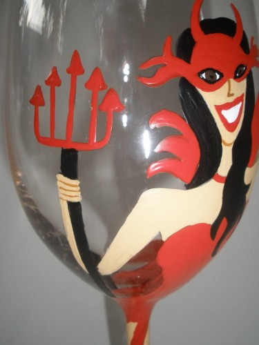 Halloween Vixen Devil Woman Glass by TheeGlassyLady