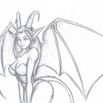 Succubus Line Drawing by Kangaroo King