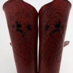 Red leather succubus vambraces by Barbwire & Roses Leatherware