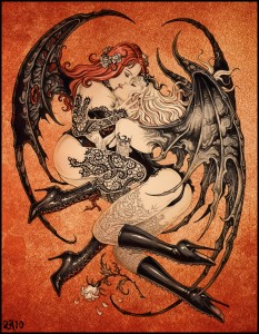 Kissing Succubi by Candra