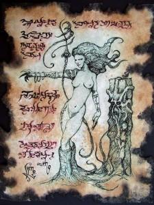 Succubus Demon Witch of the Wasteland Necronomicon Fragment by Zarono