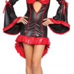 Sexy Black Red Acrylic PU Women's Demon Costume