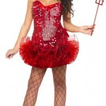 Women's Red Sequin Devil Costume w Tutu Skirt