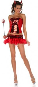 Sexy Sequin Little Red Devil Girl Costume