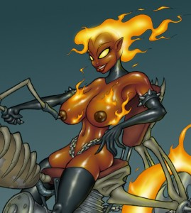 Demon Biker Babe Topless by GrayGhost