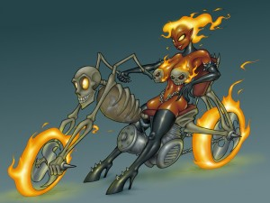 Demon Biker Babe by GrayGhost
