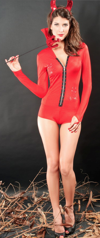 Red Devil High Collar Long Sleeves Costume