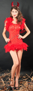 Fancy Red See Through Sexy Halloween Devil Costume