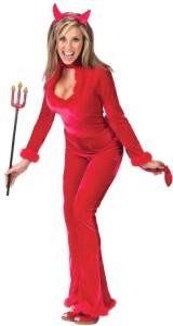 Womens Velour Sexy Devil Costume