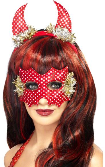 Sequin Devil Horns and Mask