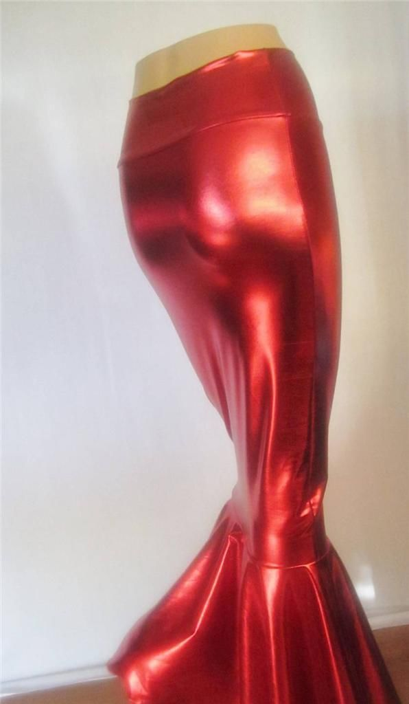 Red Metallic Fishtail Skirt