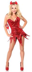 Red Sequin Devil Corset Costume
