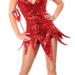 Red Sequin Devil Corset Costume