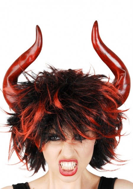 Red and Black Wig With Horns