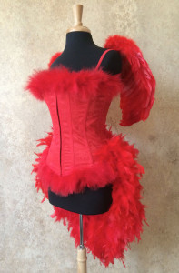 Red Angel Burlesque Feather Costume by Fantasy Masquerades