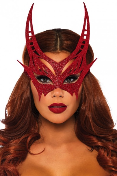 Sexy Red Glitter Devil Mask