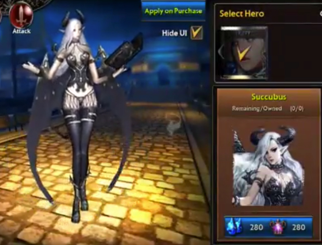 Succubus Android Game Character