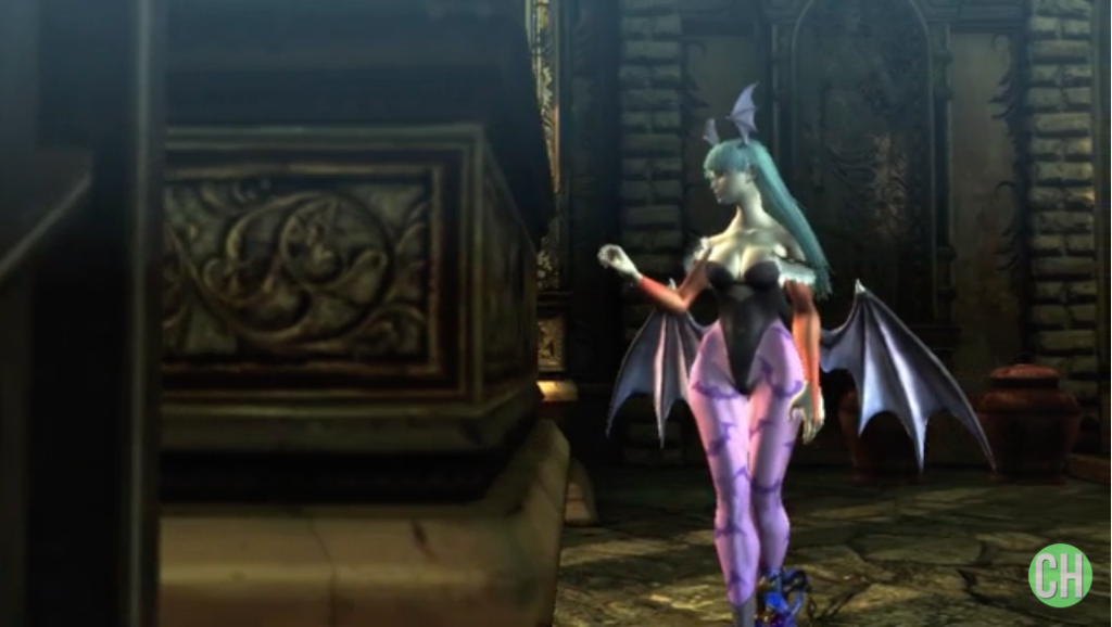 Morrigan Aensland in Bayonetta Video Game Setting