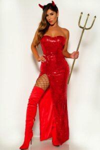 Red Sequins Strapless Devil 2 Piece Costume