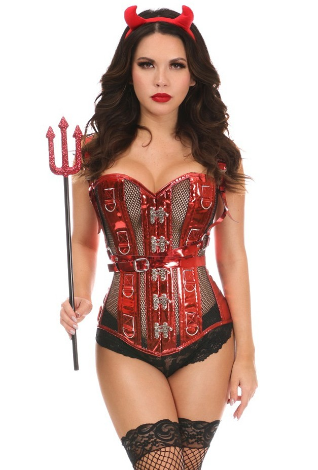 Womens 4 Piece Red Sexy Devil Corset Costume
